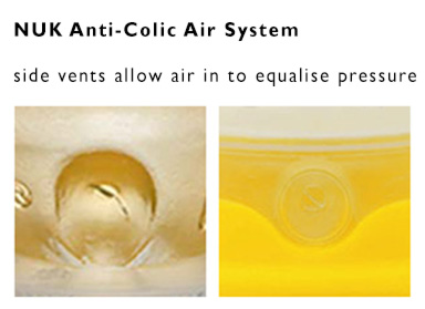 Nuk Anti Colic Air System allows air into the bottle to equalise pressure.